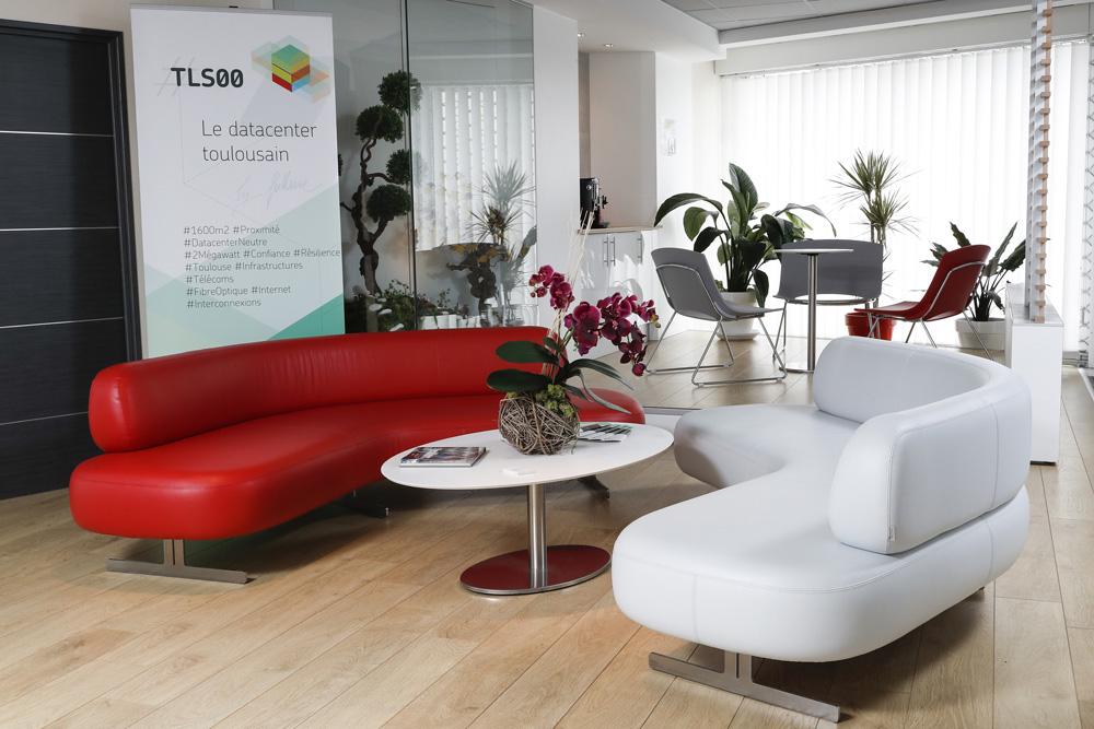 accueil de tls00 avec des canapés ronds et une table avec chaises